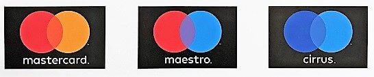 Mastercard、Maestro、Cirrusのロゴ
