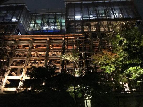 下から見る清水の舞台(アメックスの夜間参拝イベント)