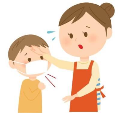 風邪を引いている子供と母親のイラスト