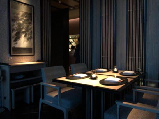 日本料理「ひのきざか」のテーブル