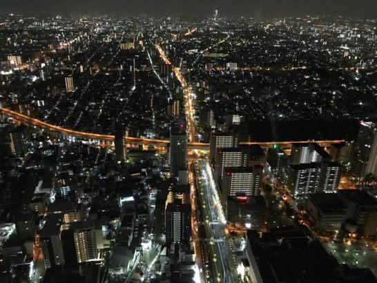 大阪のあべのハルカスからの夜景