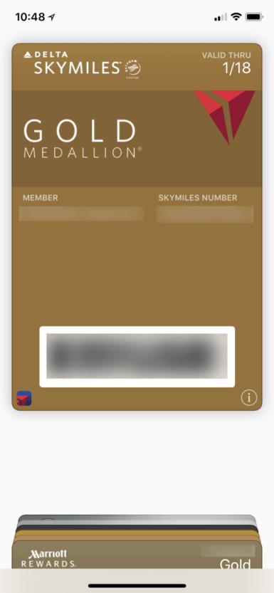 デルタ航空のゴールドメダリオンの会員証(Walletアプリ)