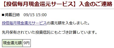 松井証券の投信毎月現金還元サービス入金のご連絡