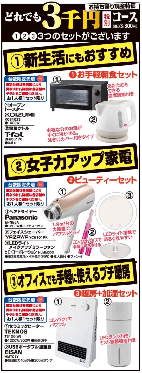 ヤマダ電機の3千円福袋(2020年)