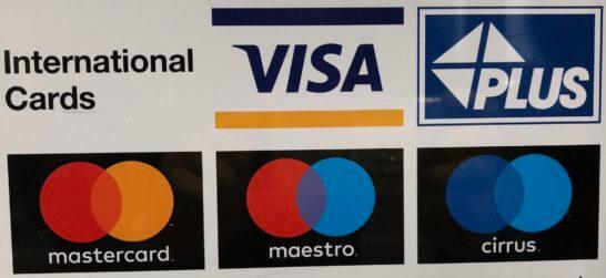 国際ブランドのロゴ(VISA・PLUS・Mastercard・maestro・cirrus