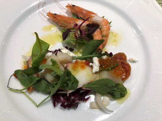 軽井沢マリオットホテルの夕食(魚介類のカルパッチョ)