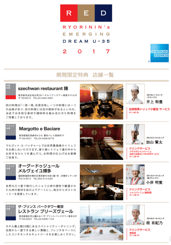 RYORININ's EMERGING DREAM U-35 2017 参加店(1)