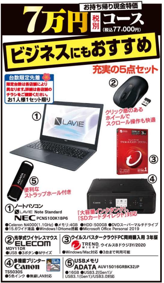 ヤマダ電機の7万円パソコン福袋(2020年)