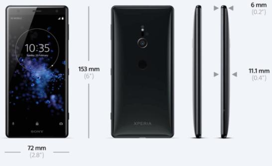 Xperia XZ2のサイズ詳細