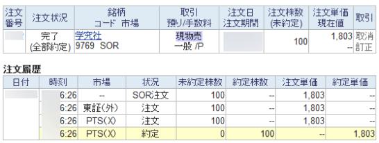 SBI証券のSBBO-Xの約定履歴
