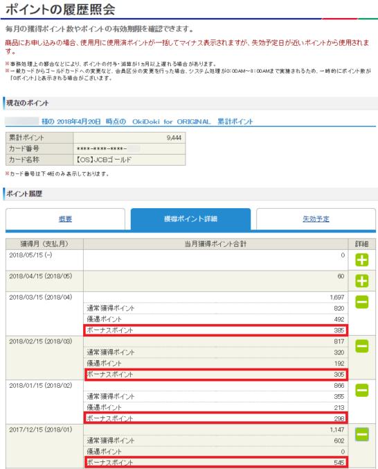 MyJCBのポイントの履歴照会画面(ボーナスポイント)