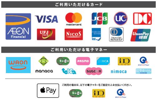 イオングループで決済可能な国際ブランド・電子マネー