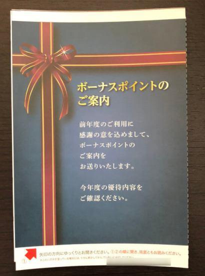 三井住友VISAカードのワールドプレゼントのボーナスポイントの案内ハガキ(裏面)