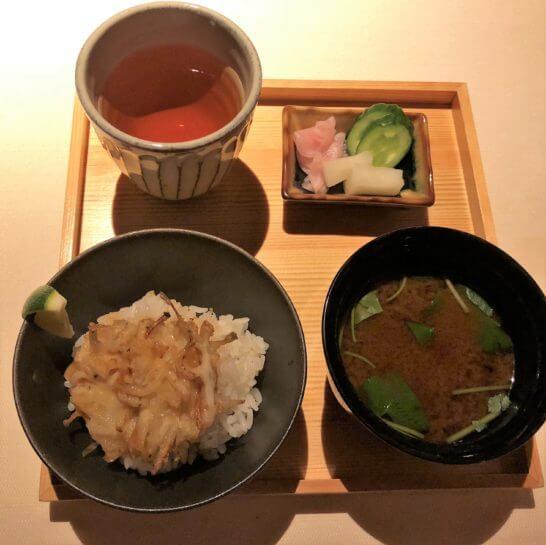 京翠嵐の龍の瞳白魚漬物 味噌汁