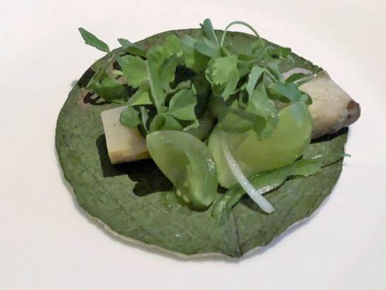 茄子のタコ オハ・サンタ ひよこ豆とクレソン