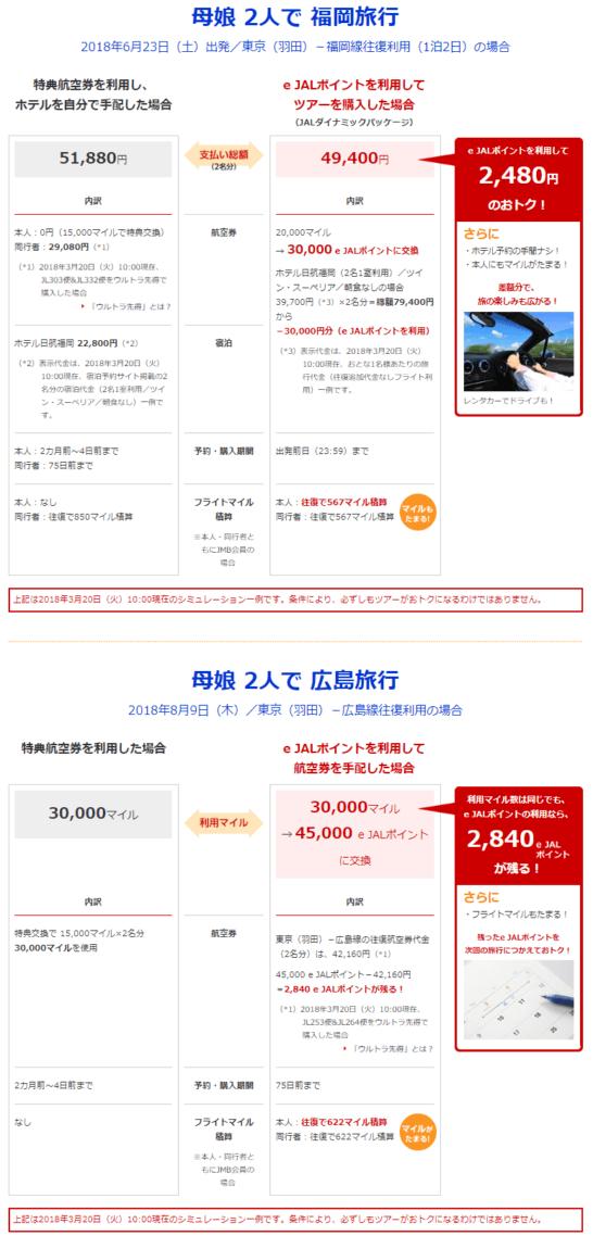 e JALポイント利用時の方が特典航空券よりお得なシミュレーション結果