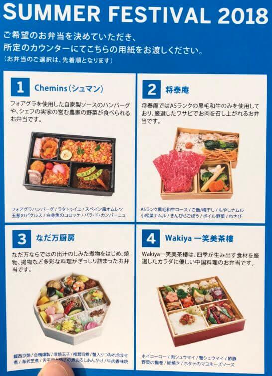 アメックスの横浜花火大会のお弁当の種類
