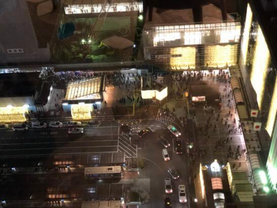 横浜シェラトンのクラブラウンジから見る横浜駅