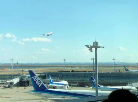 空に飛び立つANAの飛行機