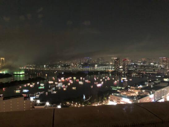 東京花火大祭2018終了後のお台場の夜景