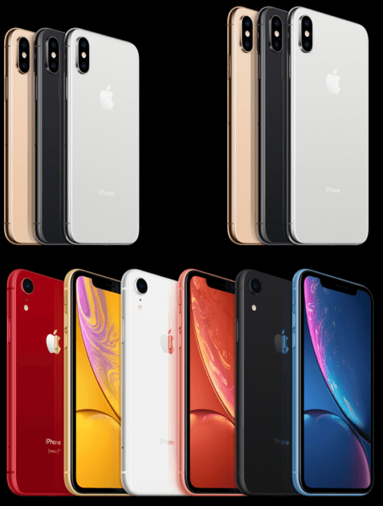 iPhone XS、XS Max、XRのカラーバリエーション