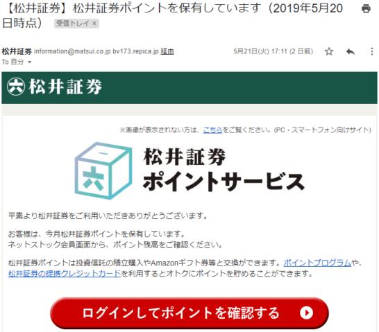 松井証券ポイントの案内メール