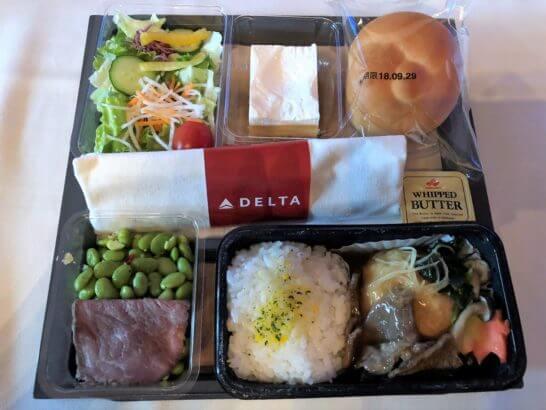 デルタ航空のメインキャビン(エコノミークラス)の機内食(和食)
