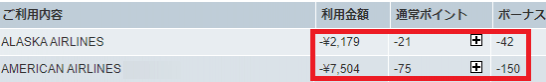 アメックスのAmazonでのポイント3倍の払い戻し明細