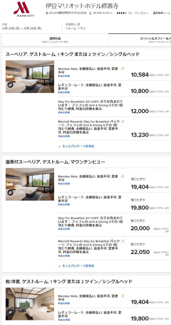 伊豆マリオットホテル修善寺の料金