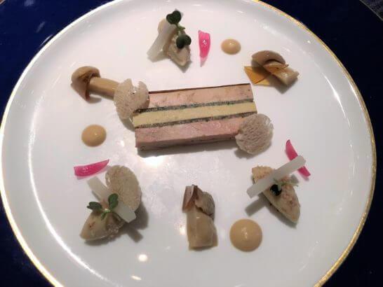 フォアグラとセップ茸のアンブロワジー 滑らかなスイートポテトとマロンのモンブラン