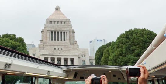東京レストランバスから見える国会議事堂
