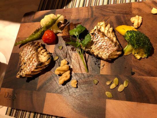 富士マリオットホテルのレストランのお魚料理