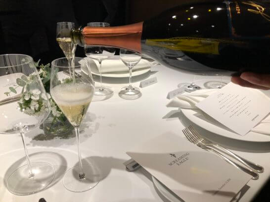 スクリーミング・イーグル ディナー・イベントのウェルカムスパークリング・ワイン