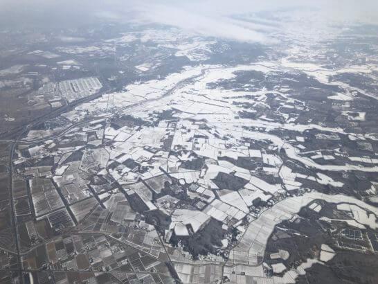 JALの機中からの北海道の雪景色