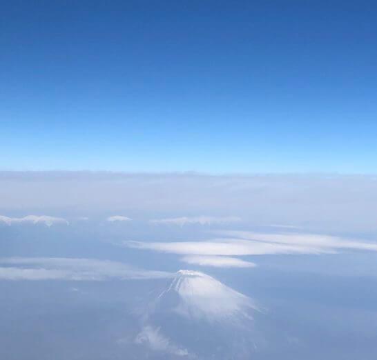機中から見えた富士山