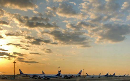 羽田空港に駐機するJALとANAの飛行機
