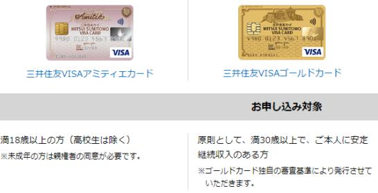 三井住友VISAアミティエカードと三井住友カード ゴールドの申込対象