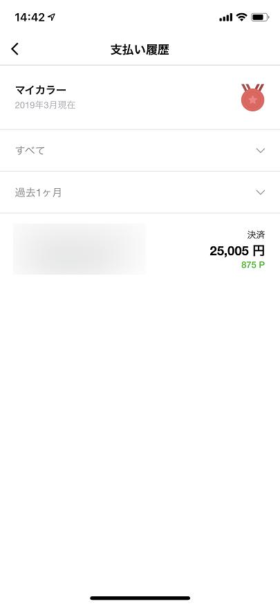 LINE Payのマイカラー画面