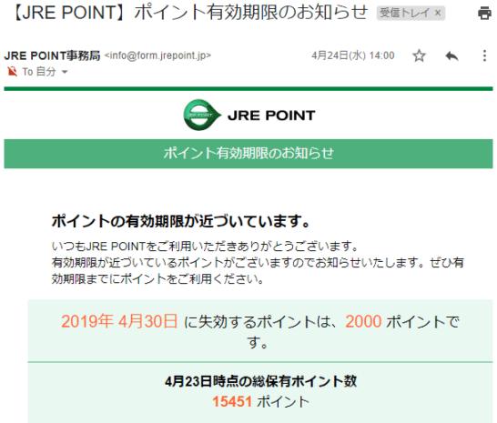 JRE POINTの有効期限のお知らせメール