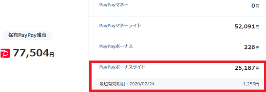 PayPay残高の内訳画面