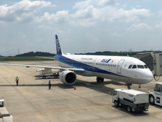岡山空港に駐機するANAの飛行機