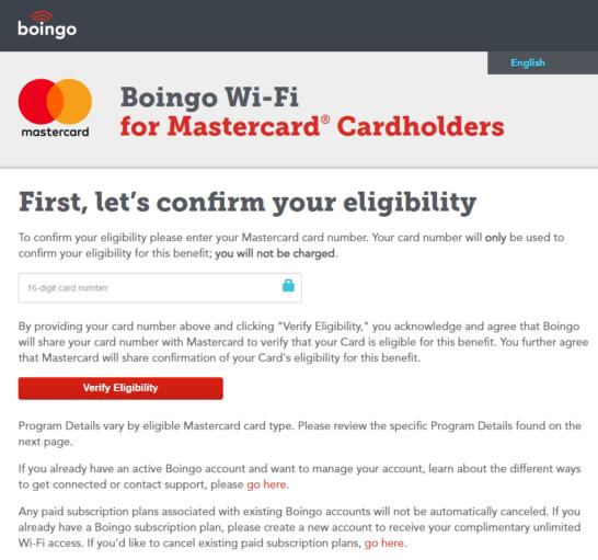 Boingo Wi-Fiのアカウント登録画面