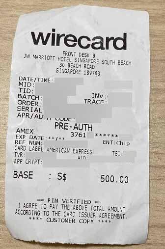JWマリオット シンガポールでのチェックイン時のクレジットカードのよるデポジット明細