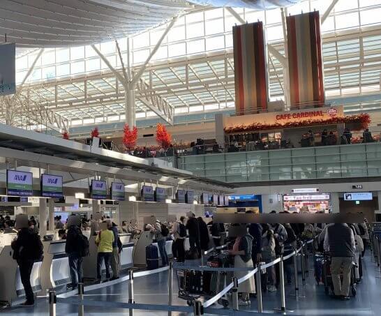 羽田空港のANAチェックインカウンター(エコノミークラス) (1)