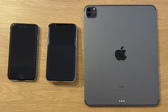 2台のApple Pay搭載iPhone、iPad Pro