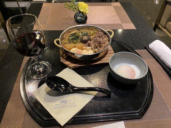 ANAスイートラウンジ(羽田T3)のすき焼き鍋