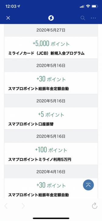 ミライノカードの入会キャンペーンによるポイント獲得履歴
