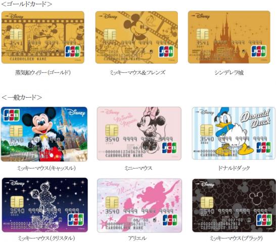 ディズニー★JCBカードのラインナップ