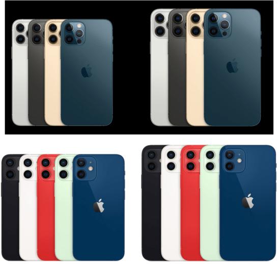 iPhone 12、12 Pro、12 Pro Max、12 miniの色