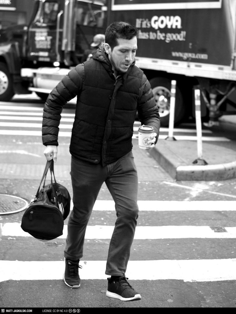 blackandwhite bnw city coffee d800 hurry man newyork newyorkcity Nikon nikonphotography nyc portrait street streetphoto urban